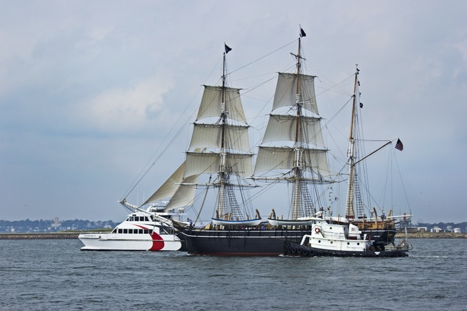 The Charles W. Morgan sailing into Boston Harbor