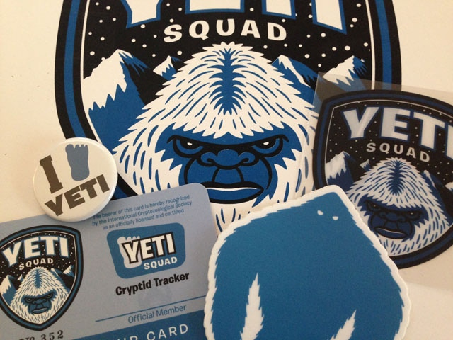 "Some of the pledge reward items for the ""Yeti Squad"" campaign."