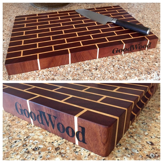 """Brick Pattern End Grain Cutting Boards, Sapele and Hard Maple. Medium, 16"""" x 10"""" x 1.5"""". Large, 21.5"""" x 14.5"""" x 2.5"""" (not pictured)."""
