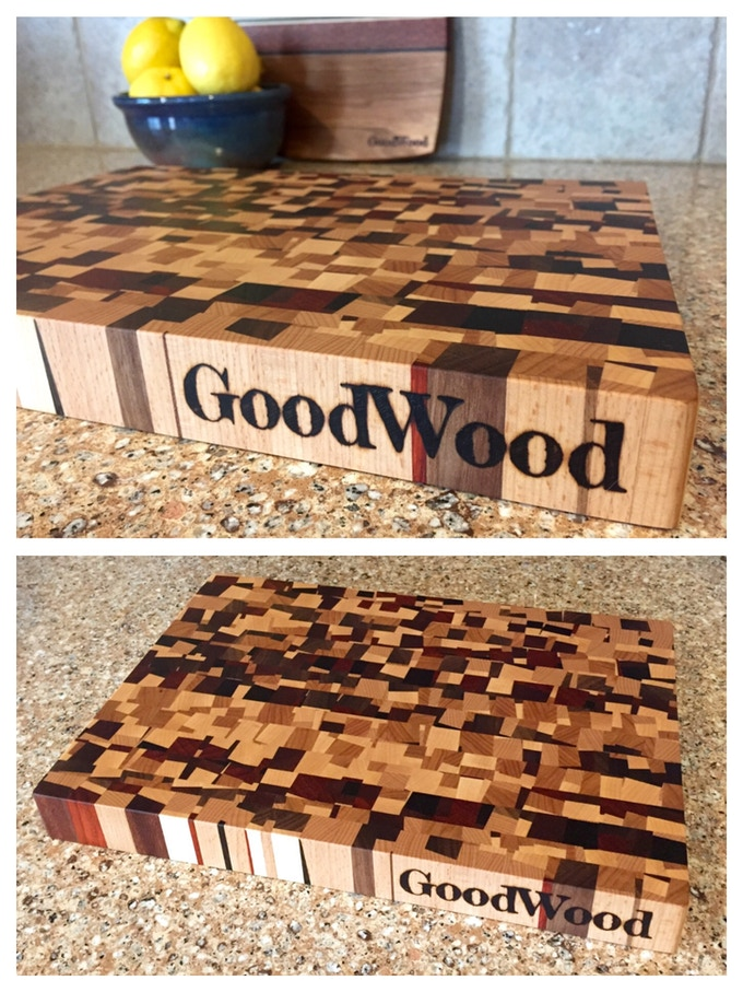 """Our Calico Boards are made with at least six different species of wood. Medium Calico End Grain Cutting Board, 13"""" x 9"""" x 1.5"""". Large Calico Square Butcher Block, 15"""" x 15"""" x 2.5"""" (not pictured)"""