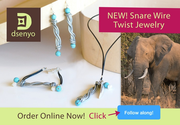 Snare Wire TWIST Jewelry. Style with purpose! Conserve African wildlife and empower fair trade artisans. Order online: www.dsenyo.com