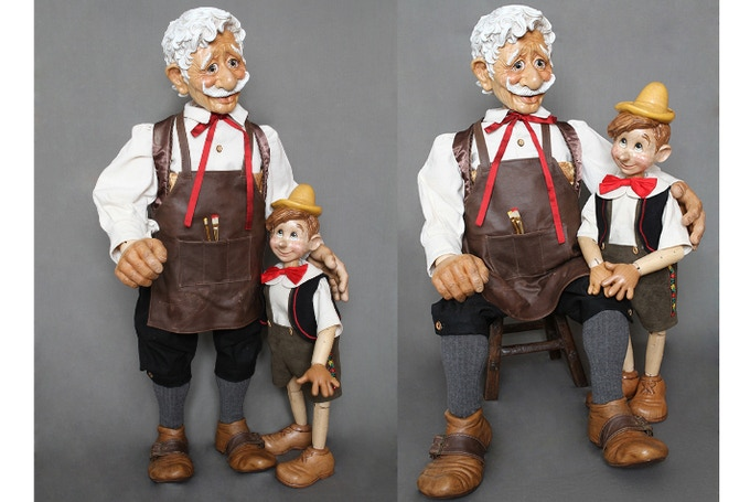 """Special Set of 40"""" Geppetto & 24"""" Musical Pinocchio"""