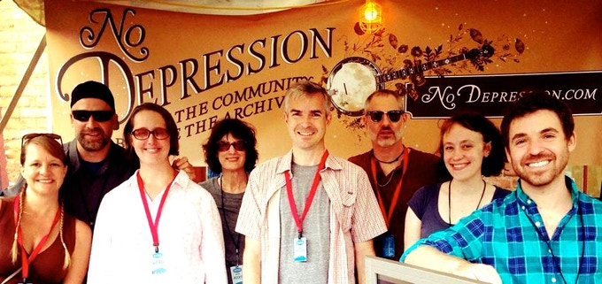 The full No Depression team at the 2014 Freshgrass festival. From left: Shelley, Chris, Kim, Sonja, Dave, Dale, Stacy, and Ivan.