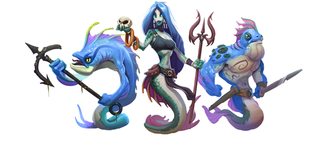 The Fishfolk utilize forbidden magic and trickery to confuse and manipulate their foes.