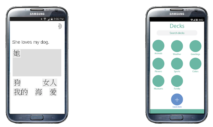 Openwords will have simple sentence translation problems (Left), and also allow you to choose/build topics to learn.