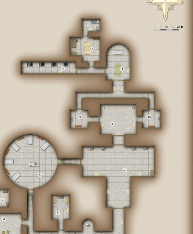 Low resolution dungeon map! A little bit brighter to make it easier to print.