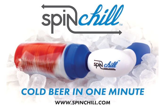 A portable, hands-free device used to chill a beer or wine (soda for youngsters) in 30-60 seconds.