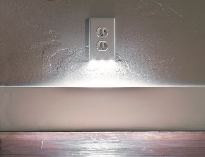 A nightlight designed into the coverplate of your outlet. It installs in seconds with no wiring or batteries and always leaves both outlets open for use.