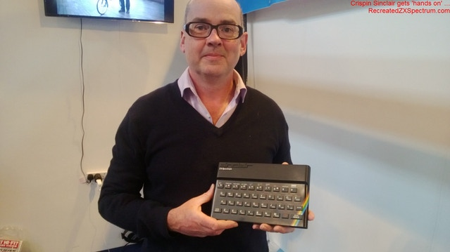 Caption: 'Babel Bike' creator Crispin Sinclair gets 'Hands On' with the Recreated ZX Spectrum.
