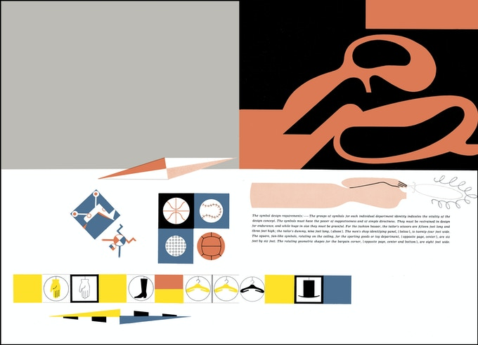 "Spread from ""Ladislav Sutnar: Visual Design in Action: showing identity campaign for Carr's shopping plaza"