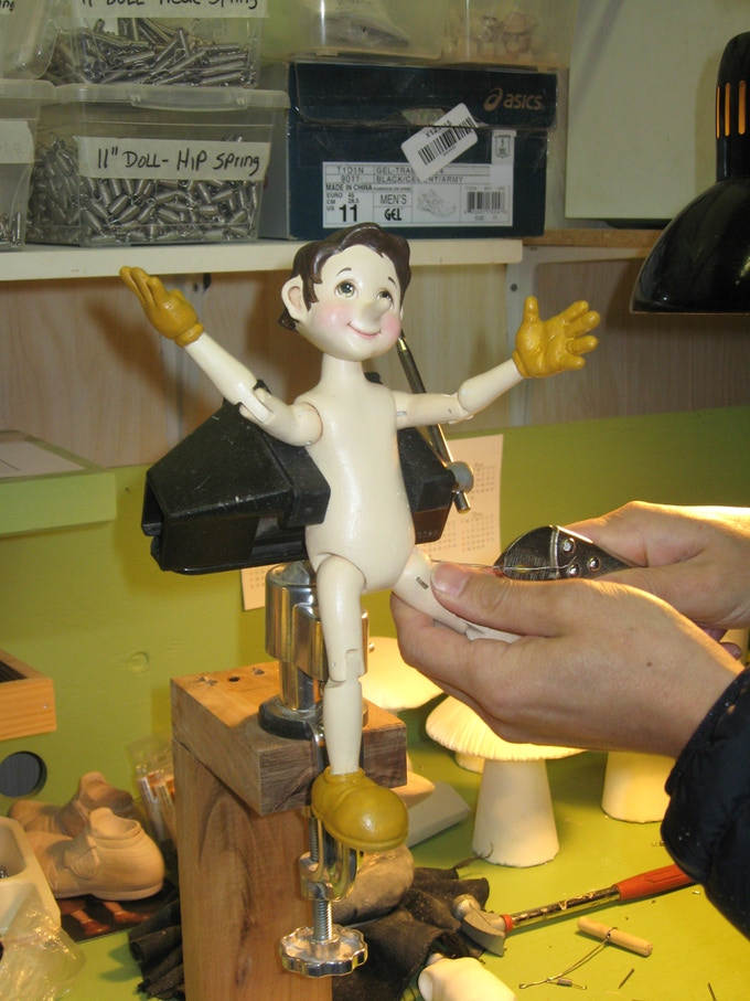 """Assembling the 10 1/2"""" Pinocchio, making  sure all his joints work"""