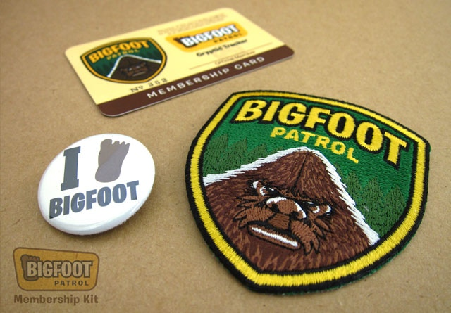 """Bigfoot Patrol"" Membership Kit items."