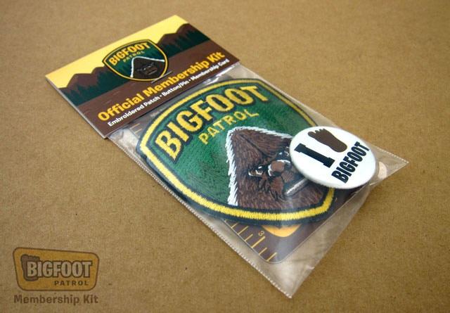 """Bigfoot Patrol"" Membership Kit, assembled with header card."