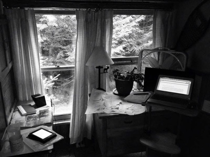 My primary writing space in the cabin