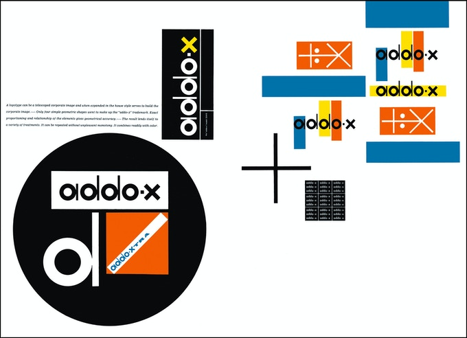 """Spread from Visual Design in Action"" illustrating the Addo-X identity campaign"