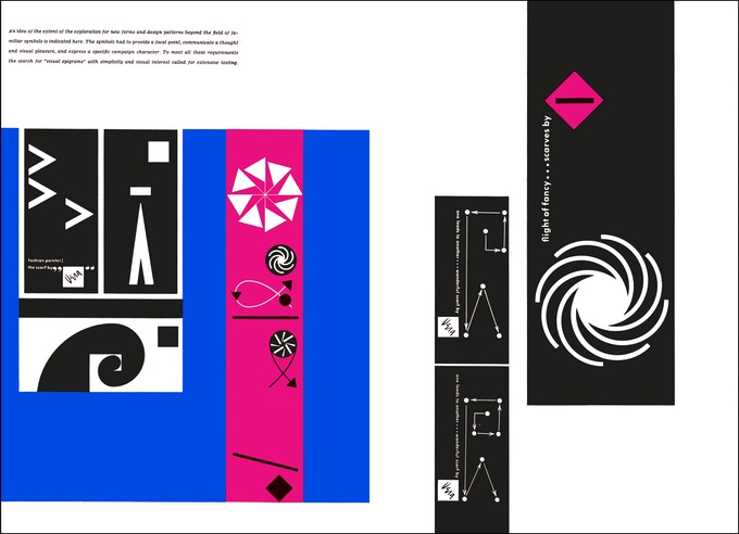 "Spread from ""Ladislav Sutnar"" Visual Design in Action"" illustrating branding for ""Vera"" scarves"