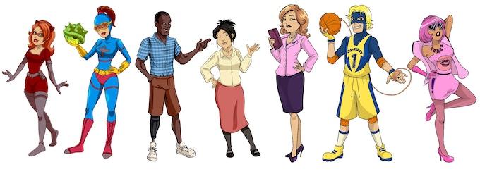 Vixen, Gamer Girl, Bo Turner, Ellen Rei, Mrs. Crowley, Jumpshot, Bubb!egum