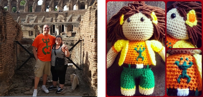 I am with my fiance in Italy, wearing Luiza's shirt... This is a unisex story folks!  This is also an example of what the hand knit doll that Candice Davis did of Luiza. She will be crafting the Billy the Turtle doll as well!