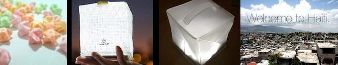 (l to r) Origami star, SolarPuff, SolarHelix Prototype, Haiti