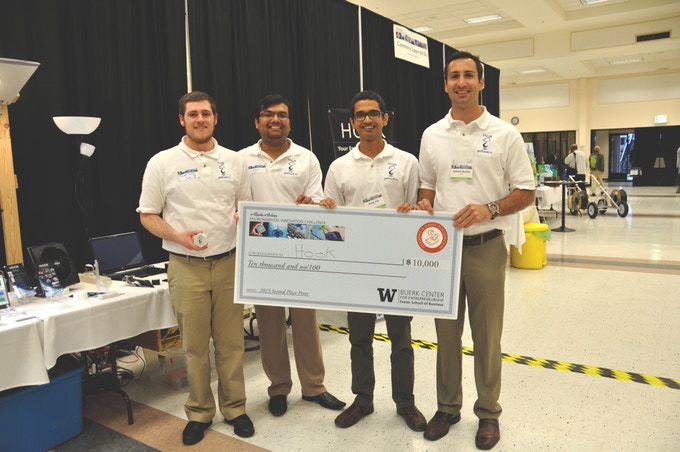 Max, Anigo, Rahil and Robert with Hook - Runners-up at 2015 Alaska Airlines Environmental Innovation Challenge