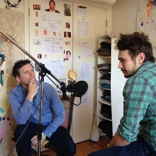 James Franco (on the right) preparing to perform an untitled radio play by playwright Will Eno (on the left), which aired on Episode 17 of the Organist.