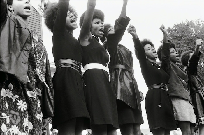 Black Panthers from Sacramento, Free Huey Rally, Bobby Hutton Memorial Park in Oakland, CA, 1969. Photo courtesy of Pirkle Jones and Ruth-Marion Baruch.