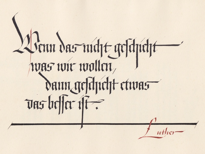 Quotation from Martin Luther, page from the first sketchbook, 1941.