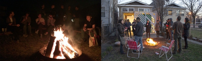 ACRE's new space will help transport the atmosphere at the residency to our work in Chicago. (Left: ACRE Residency Fire, Right: ACRE partner gallery opening at The Franklin)