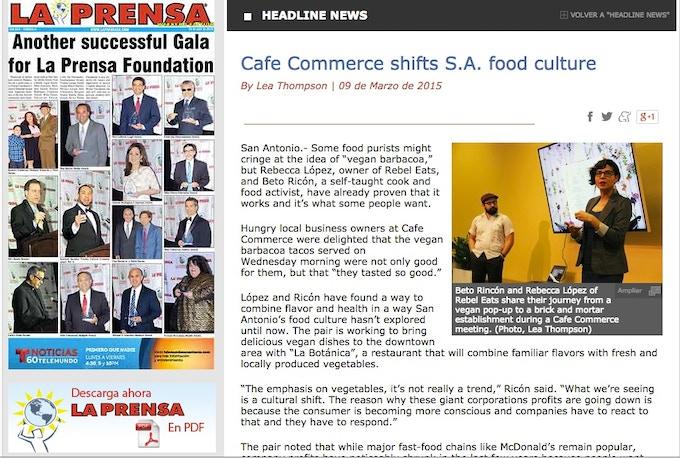 Rebel speaking about La Botanica at Cafe Commerce
