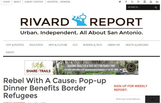 write up on pop-up dinner to raise funds for refugees