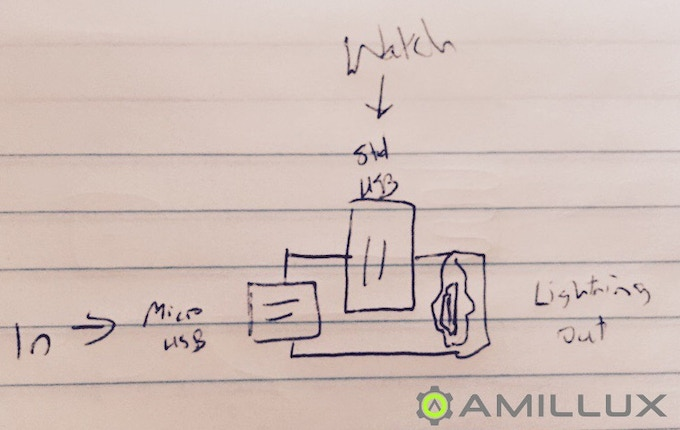 The initial circuit is sketched out on notebook paper providing single cord charging.