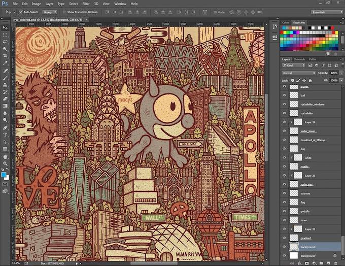 I colored the illustration using Adobe Photoshop.