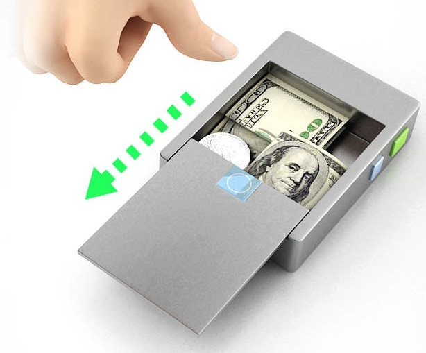 Shows the thumbprint recognition technology for the cash storage located on back of wallet! Back compartment hides and secures various amounts of cash.