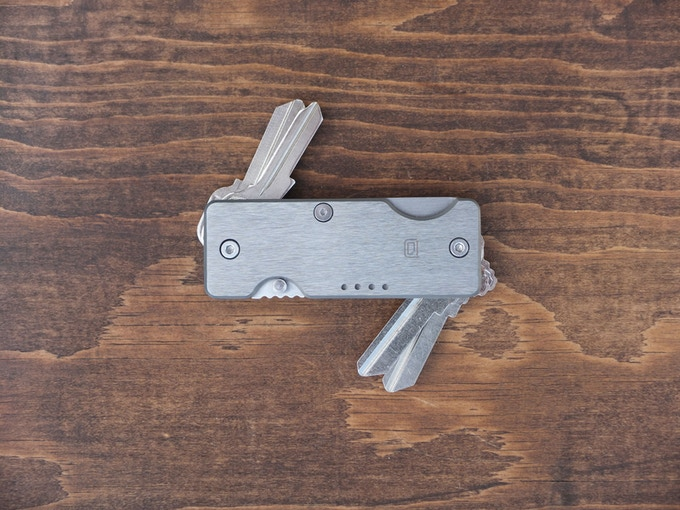 Titanium brushed finish key holder knife