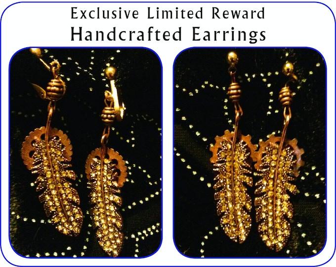 Twelve pairs of Clockwork Phoenix earrings, choice of clip or stud, handmade by Anita Allen.