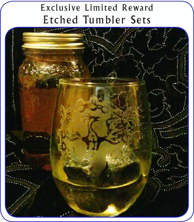 Twelve sets of two tumblers, hand-etched by Anita Allen with Paula Arwen Owen's Clockwork Phoenix logo.