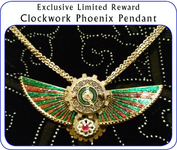 Four Clockwork Phoenix pendants handcrafted by Anita Allen.