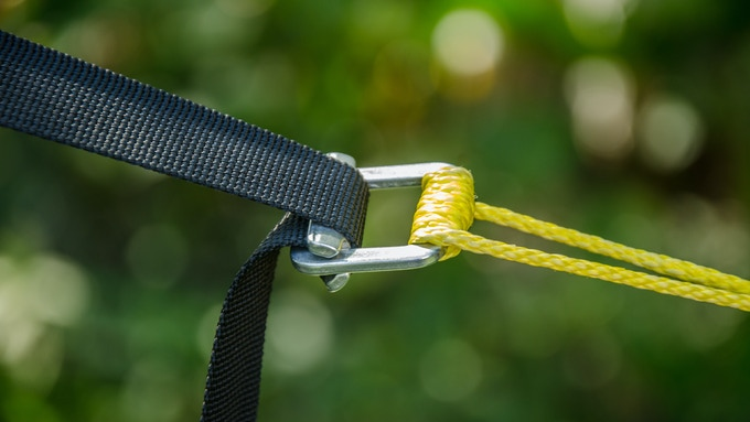 """Cinch Buckle with UPGRADED 1/8"""" Amsteel Spliced Rope Loop and Tree Strap"""