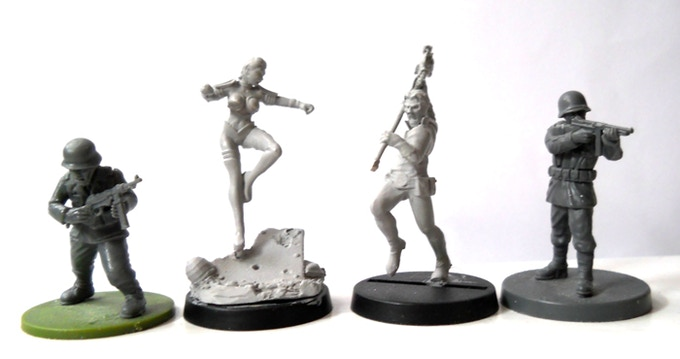 size comparison between one Warlord Games figure and a Wargames Factory figure.
