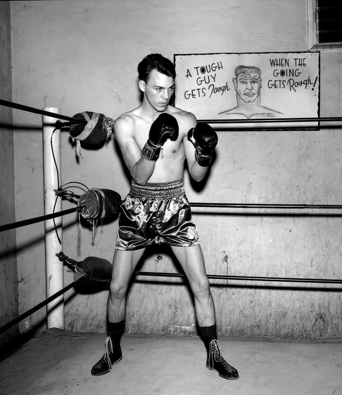 A print of Frankie Crawford at the Hoover Street Gym is available as a reward