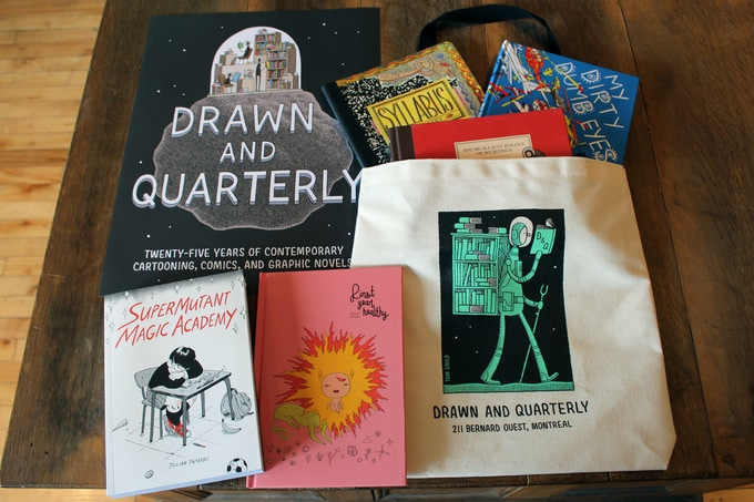 For $300: These goodies, and more, from our friends at Drawn & Quarterly. Not pictured here: the delectable dinner you'll get to enjoy with D&Q authors and staff!