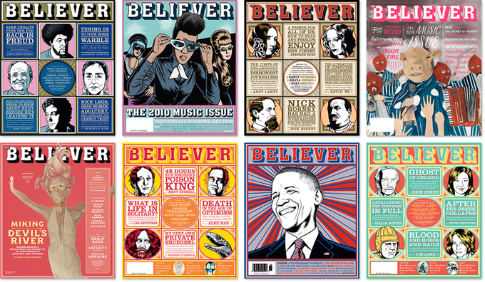 A few of the 111 covers that have graced the Believer to date.
