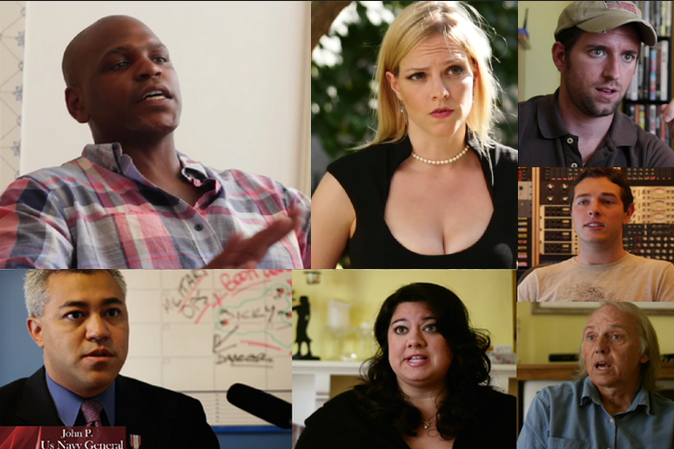 Witnesses talking about the Handependence day, the war between the hands and their owners (the humans). The movie has a very particular structure: it is mostly narrated but there is also a mockumentary part. Here some of the cast involved in it.