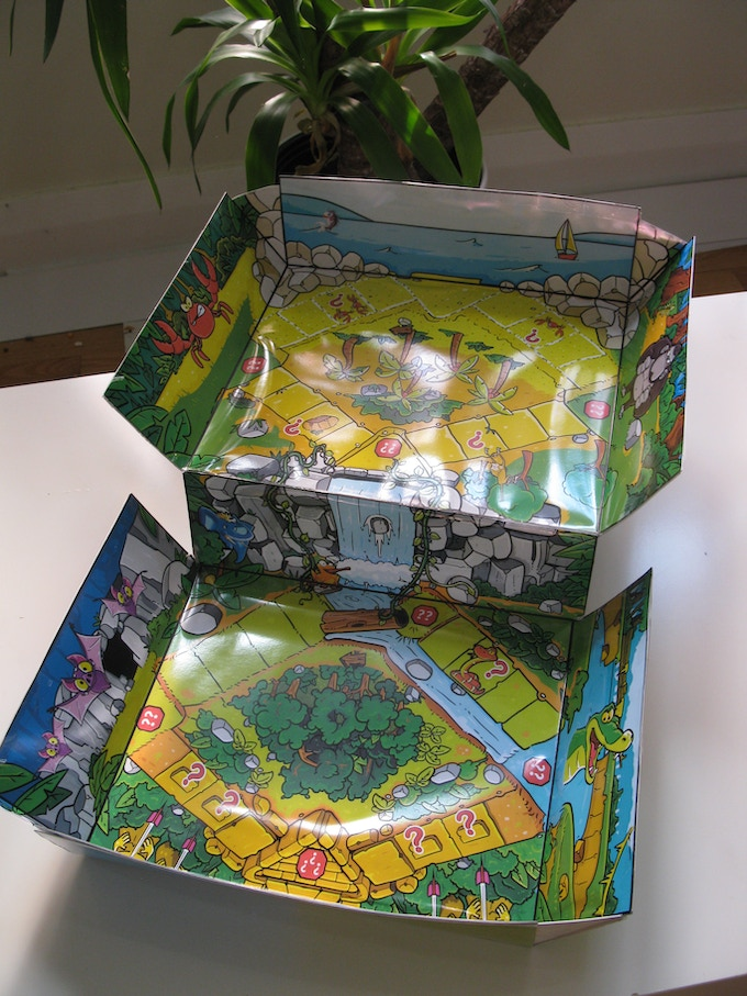 The box incorporates adjustable angled sides that allow for the amazing artwork to be fully appreciated.  Always a favorite for kids!