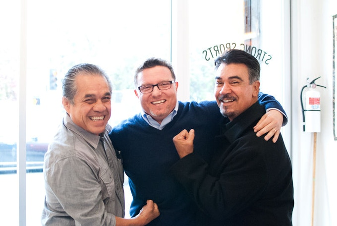 Director Steve DeBro with Olympic fighters Armando Muniz and Carlos Palomino