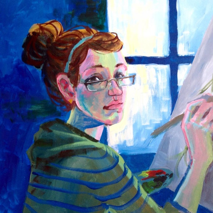 A self-portrait painted by Madison. Backer acrylic portraits will be painted in this style.