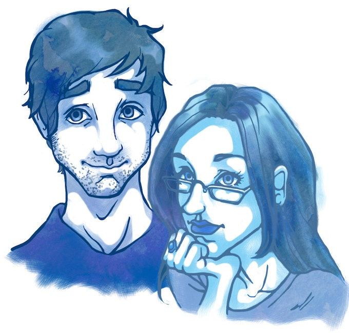 The formerly happy couple, drawn by Nick. Backer digital portraits will be painted in this style.