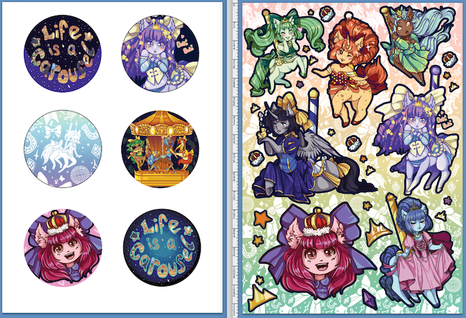 1' badges and sticker sheet