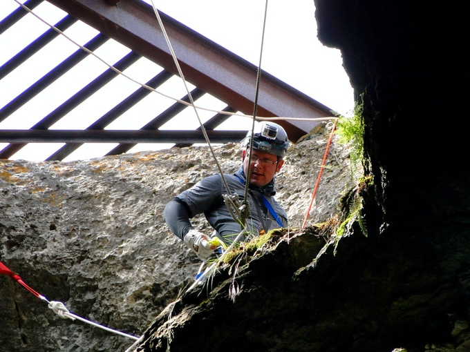Preparing to descend into Natural Trap Cave. Photo by Eric Scott.