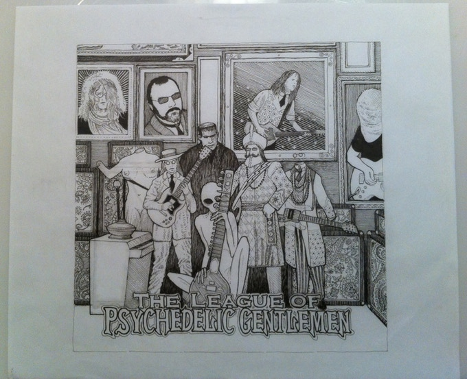 Original pen and ink art for FdM's The League of Psychedelic Gentlemen